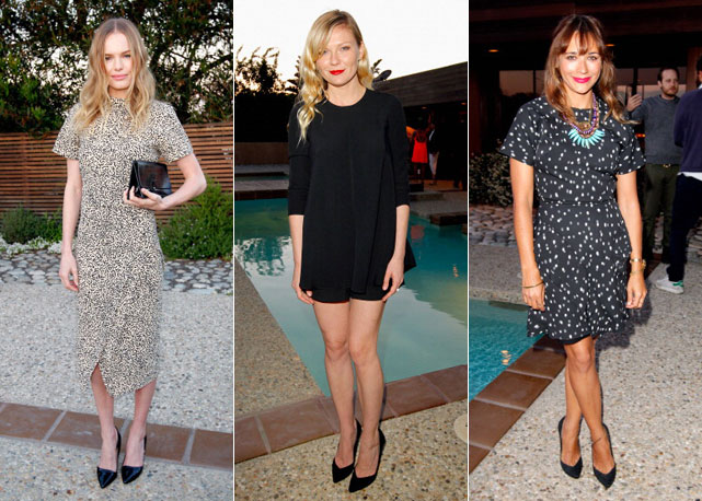 Kate Bosworth, Kirsten Dunst e Rashida Jones, todas de Proenza Shouler - Fotos: Getty Images