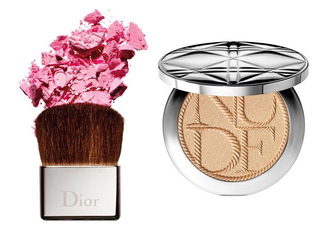 À esquerda, Rosy Glow Blush, Dior, R$ 219; à direita, Iluminador Touche Éclat, YSL, R$ 215 - Foto: reprodução/Harper's Bazaar
