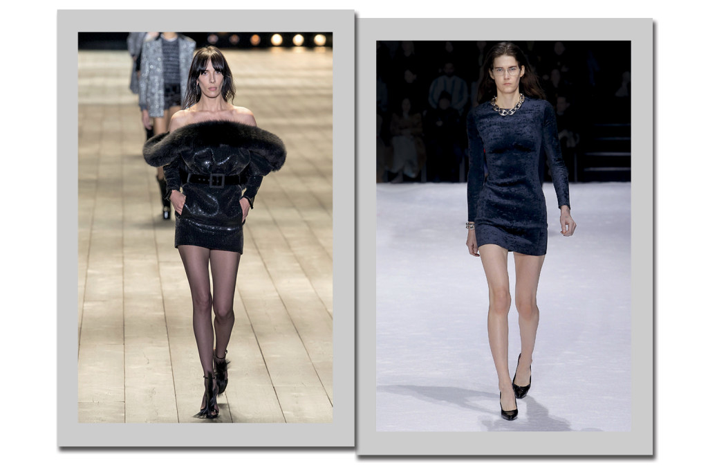 Saint Laurent (à esquerda) e Balenciaga (à direita) - Foto: Getty Images