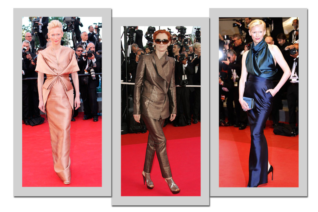 Tilda Siwnton, musa do estilista Haider Ackerman, usa looks da grife - Fotos: Getty Images