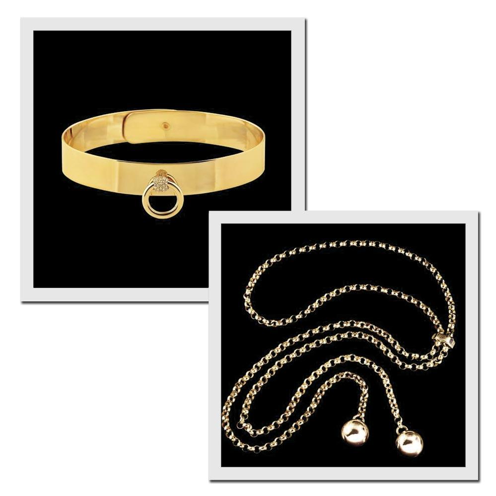 À esquerda, coleira sadomasoquista de ouro com diamantes, R$ 24,5 mil; à direita, correntes corporais, R$ 113 mil - Fotos: Divulgação